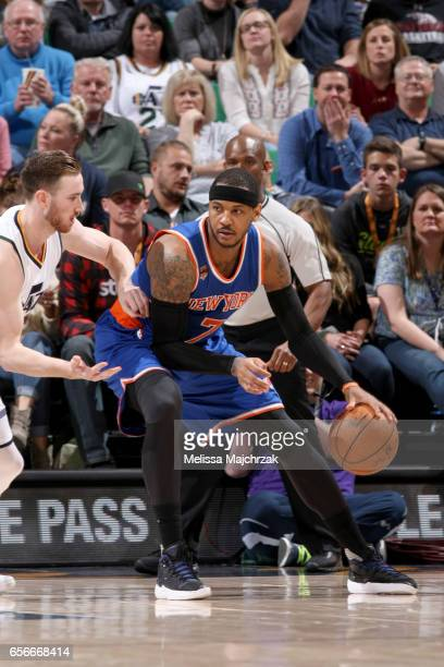 Carmelo Anthony of the New York Knicks handles the ball against the Utah Jazz on March 22 2017 at vivintSmartHome Arena in Salt Lake City Utah NOTE...
