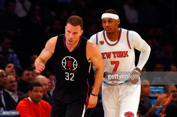 Carmelo Anthony of the New York Knicks in action against Blake Griffin of the Los Angeles Clippers at Madison Square Garden on February 8 2017 in New...