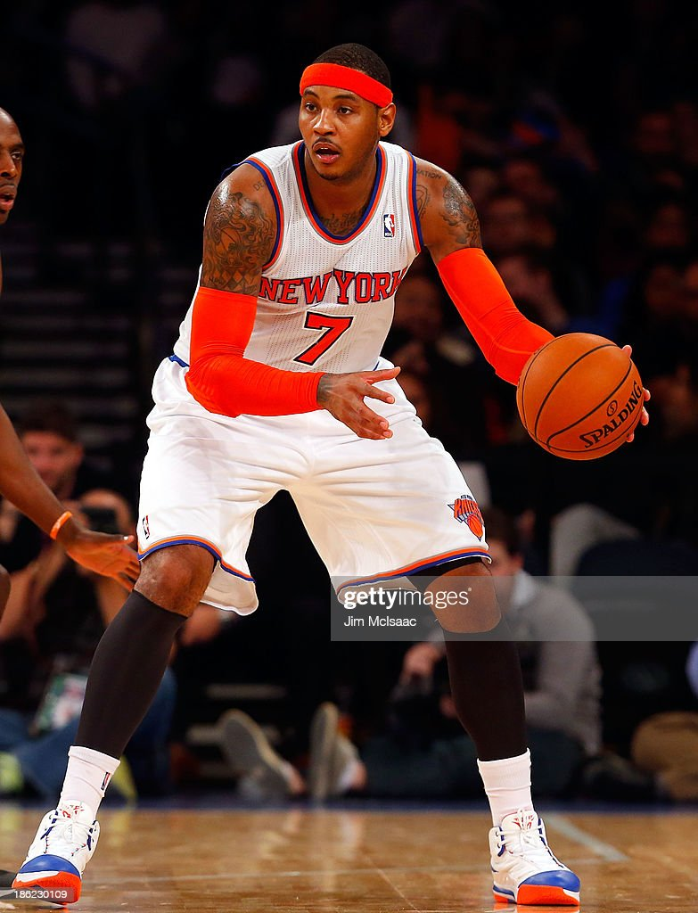 Carmelo Anthony #7 of the New York Knicks in action against the Charlotte Bobcats during a pre-season game at Madison Square Garden on October 25, 2013 in New York City. The Bobcats defeated the Knicks 85-83.