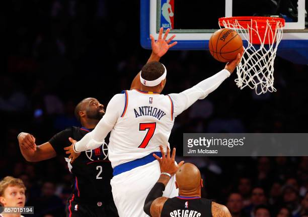 Carmelo Anthony of the New York Knicks in action against the Los Angeles Clippers at Madison Square Garden on February 8 2017 in New York City The...