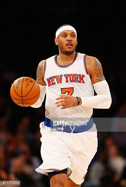 Carmelo Anthony of the New York Knicks in action against the Toronto Raptors during their game at Madison Square Garden on February 22 2016 in New...