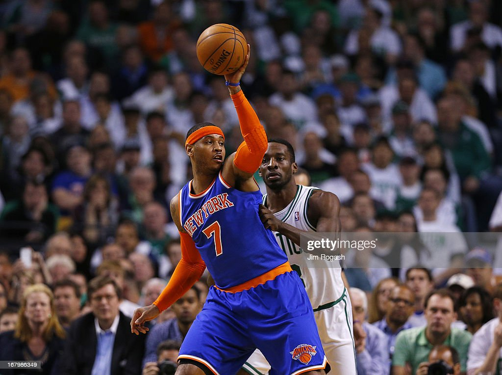 Carmelo Anthony #7 of the New York Knicks keeps the ball away from Jeff Green #8 of the Boston Celtics in the second half against the Boston Celtics during Game Six of the Eastern Conference Quarterfinals of the 2013 NBA Playoffs on May 3, 2013 at TD Garden in Boston, Massachusetts.