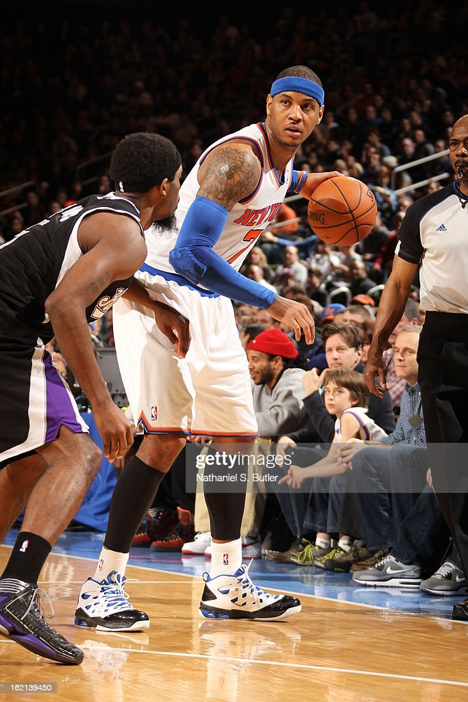 <a gi-track='captionPersonalityLinkClicked' href=/galleries/search?phrase=Carmelo+Anthony&family=editorial&specificpeople=201494 ng-click='$event.stopPropagation()'>Carmelo Anthony</a> #7 of the New York Knicks looks to drive to the basket against the Sacramento Kings on February 2, 2013 at Madison Square Garden in New York City.