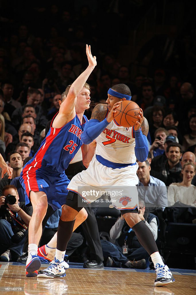 Carmelo Anthony #7 of the New York Knicks looks to pass the ball against the Detroit Pistons on February 4, 2013 at Madison Square Garden in New York City.