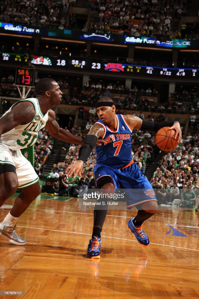 Carmelo Anthony #7 of the New York Knicks looks to pass the ball against the Boston Celtics in Game Three of the Eastern Conference Quarterfinals during the 2013 NBA Playoffs on April 26, 2013 at the TD Garden in Boston.