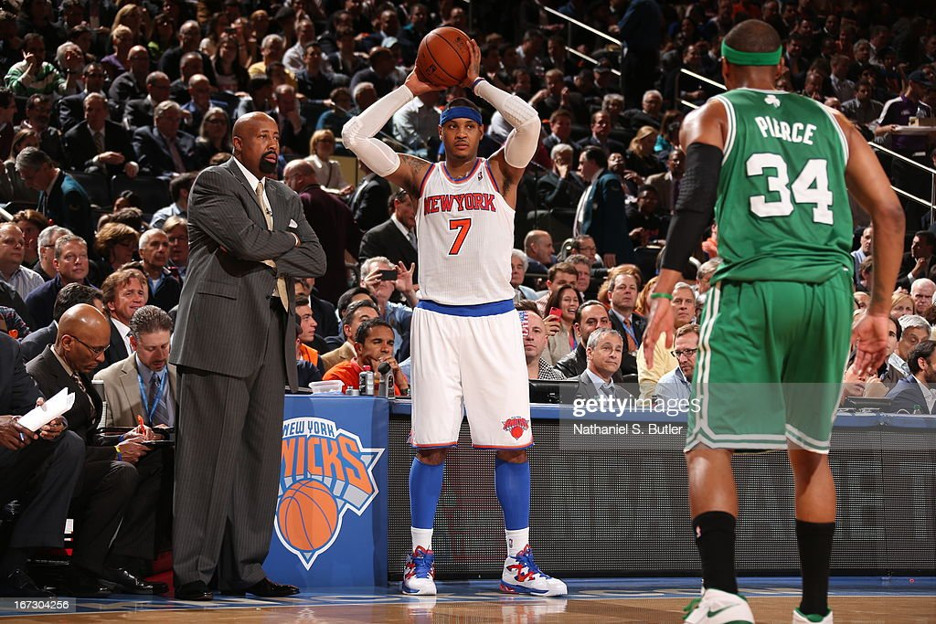 Carmelo Anthony #7 of the New York Knicks looks to pass the ball in bounds against Paul Pierce #34 of the Boston Celtics in Game Two of the Eastern Conference Quarterfinals during the 2013 NBA Playoffs on April 23, 2013 at Madison Square Garden in New York City.