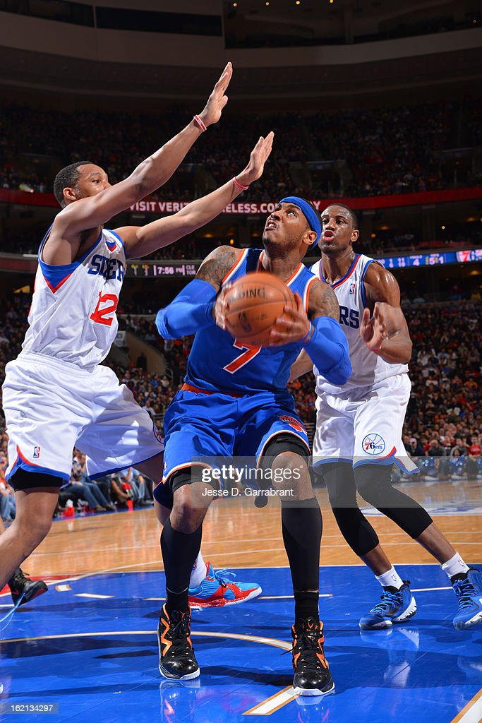 <a gi-track='captionPersonalityLinkClicked' href=/galleries/search?phrase=Carmelo+Anthony&family=editorial&specificpeople=201494 ng-click='$event.stopPropagation()'>Carmelo Anthony</a> #7 of the New York Knicks looks to put up a shot against the Philadelphia 76ers at the Wells Fargo Center on January 26, 2013 in Philadelphia, Pennsylvania.
