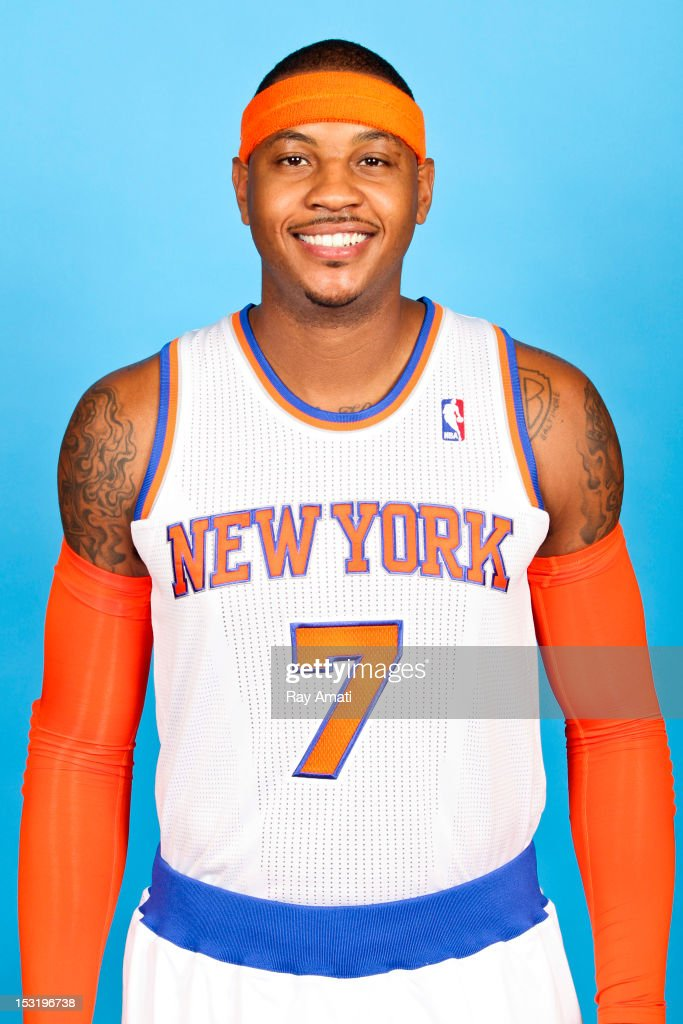 Carmelo Anthony #7 of the New York Knicks poses for a photo during the New York Knicks Media Day on October 1, 2012 at the Madison Square Garden Training Center in Tarrytown, New York.