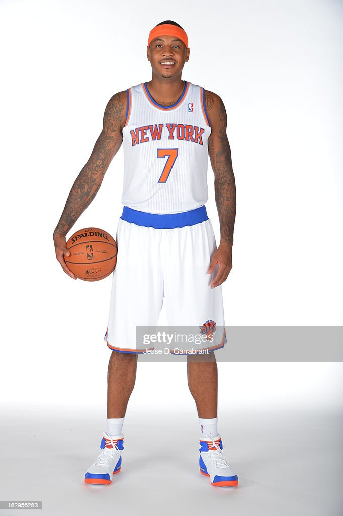 Carmelo Anthony #7 of the New York Knicks poses for a portrait at Media Day on September 30, 2013 at Madison Square Garden in New York City, New York.