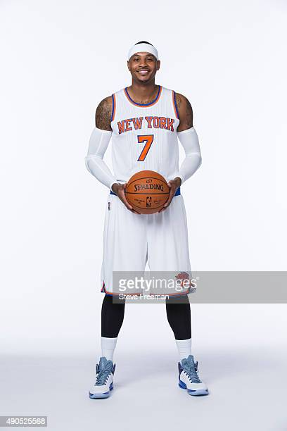 Carmelo Anthony of the New York Knicks poses for a portrait at Media Day at the MSG Training Facility in Greenburgh New York on September 28 2015...