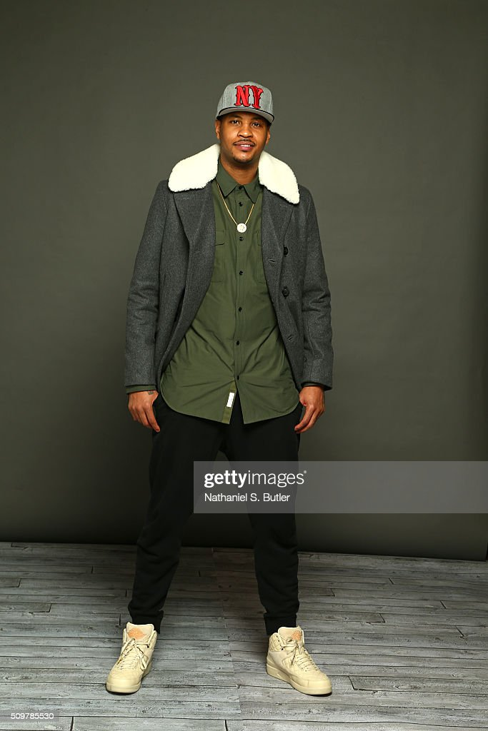 <a gi-track='captionPersonalityLinkClicked' href=/galleries/search?phrase=Carmelo+Anthony&family=editorial&specificpeople=201494 ng-click='$event.stopPropagation()'>Carmelo Anthony</a> #7 of the New York Knicks poses for a portrait on February 12, 2016 at the Sheraton Centre as part of 2016 NBA All-Star Weekend in Toronto, Ontario Canada.