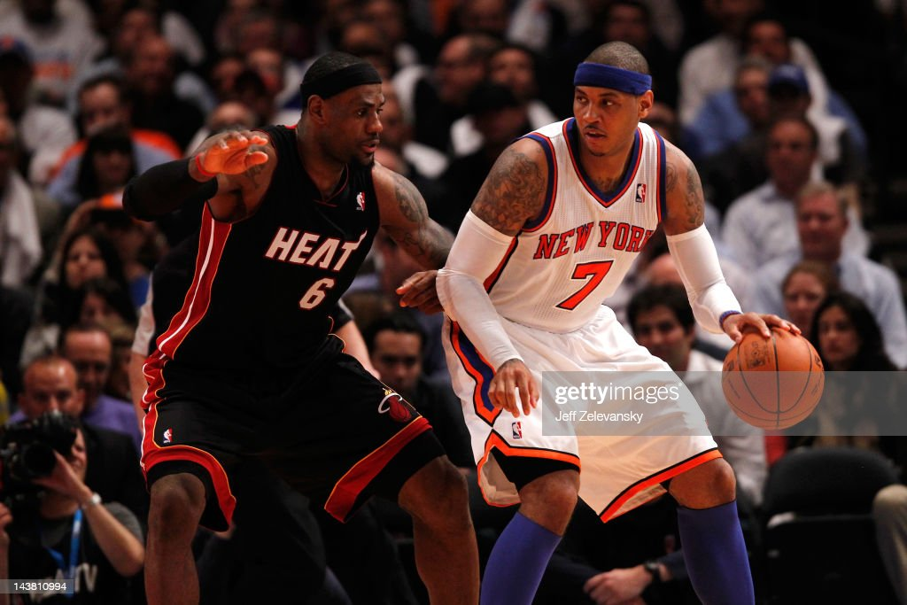 <a gi-track='captionPersonalityLinkClicked' href=/galleries/search?phrase=Carmelo+Anthony&family=editorial&specificpeople=201494 ng-click='$event.stopPropagation()'>Carmelo Anthony</a> #7 of the New York Knicks posts up against <a gi-track='captionPersonalityLinkClicked' href=/galleries/search?phrase=LeBron+James&family=editorial&specificpeople=201474 ng-click='$event.stopPropagation()'>LeBron James</a> #6 of the Miami Heat in Game Three of the Eastern Conference Quarterfinals in the 2012 NBA Playoffs on May 3, 2012 at Madison Square Garden in New York City.