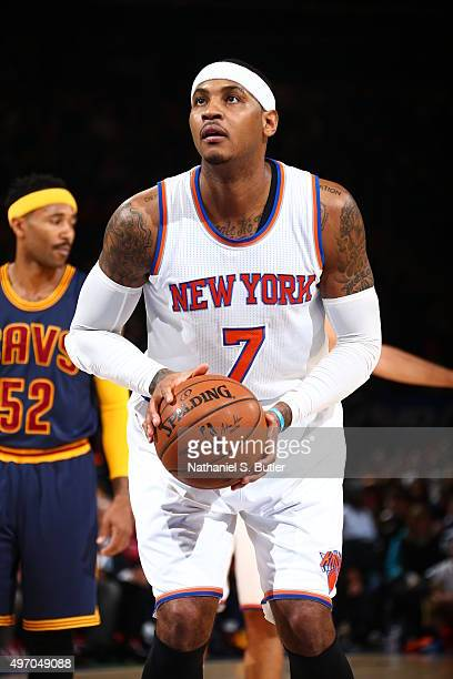 Carmelo Anthony of the New York Knicks prepares to shoot a free throw against the Cleveland Cavaliers on November 13 2015 at Madison Square Garden in...
