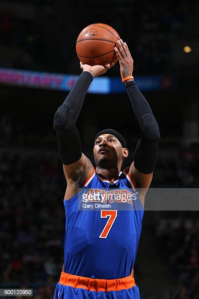 Carmelo Anthony of the New York Knicks prepares to shoot a free throw against the Milwaukee Bucks on December 5 2015 at the BMO Harris Bradley Center...