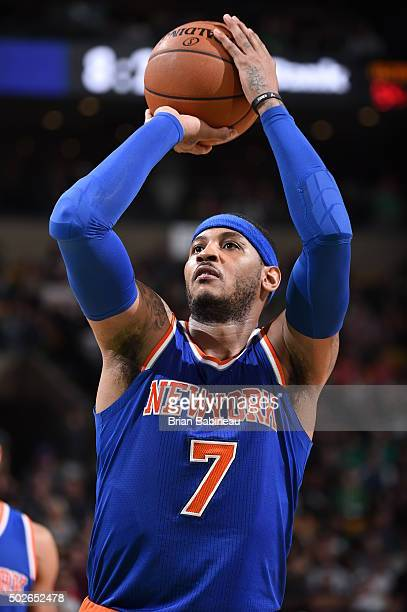 Carmelo Anthony of the New York Knicks prepares to shoot a free throw against the Boston Celtics on December 27 2015 at the TD Garden in Boston...