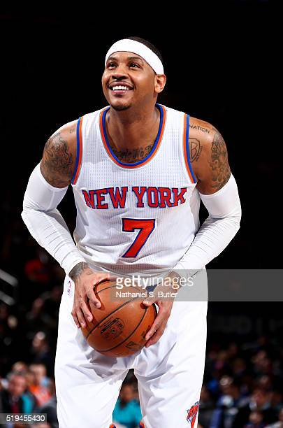 Carmelo Anthony of the New York Knicks prepares to shoot a free throw against the Charlotte Hornets on April 6 2016 at Madison Square Garden in New...