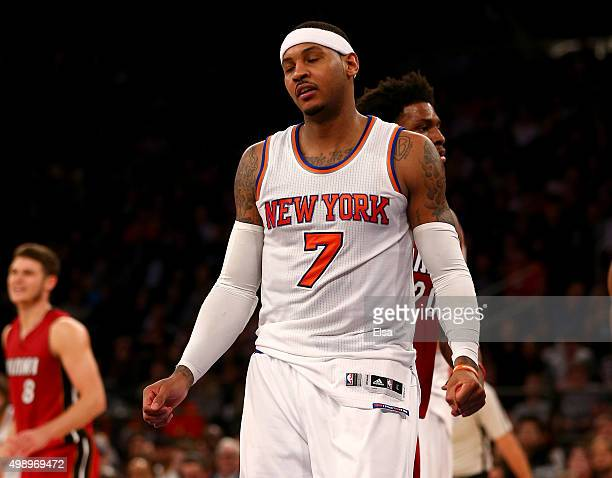 Carmelo Anthony of the New York Knicks reacts after he is called for a foul in the second half against the Miami Heat at Madison Square Garden on...