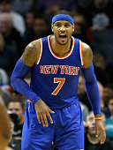 Carmelo Anthony of the New York Knicks reacts against the Charlotte Hornets during their game at Time Warner Cable Arena on November 11 2015 in...