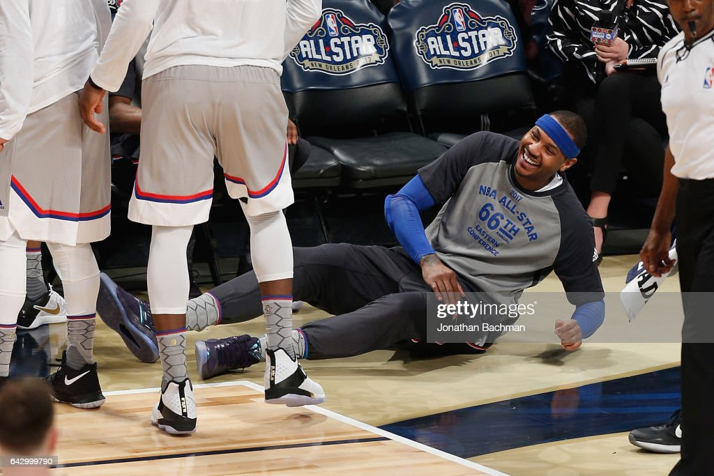 Carmelo Anthony #7 of the New York Knicks reacts in the first half of the 2017 NBA All-Star Game at Smoothie King Center on February 19, 2017 in New Orleans, Louisiana.