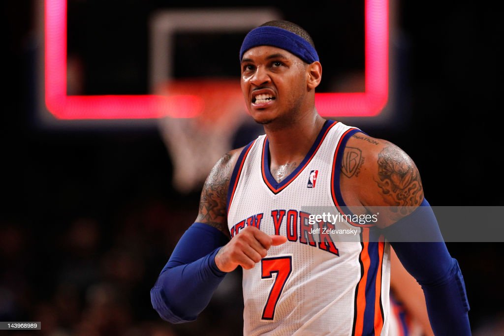 Carmelo Anthony #7 of the New York Knicks reacts in the second half against the Miami Heat in Game Four of the Eastern Conference Quarterfinals in the 2012 NBA Playoffs on May 6, 2012 at Madison Square Garden in New York City.