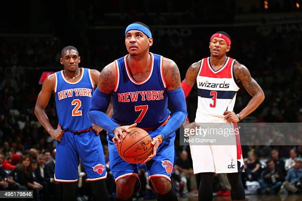 Carmelo Anthony of the New York Knicks shoots a free throw against the Washington Wizards during the game on October 31 2015 at Verizon Center in...