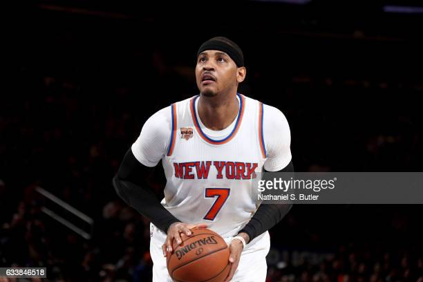 Carmelo Anthony of the New York Knicks shoots a free throw against the Cleveland Cavaliers on February 4 2017 at Madison Square Garden in New York...