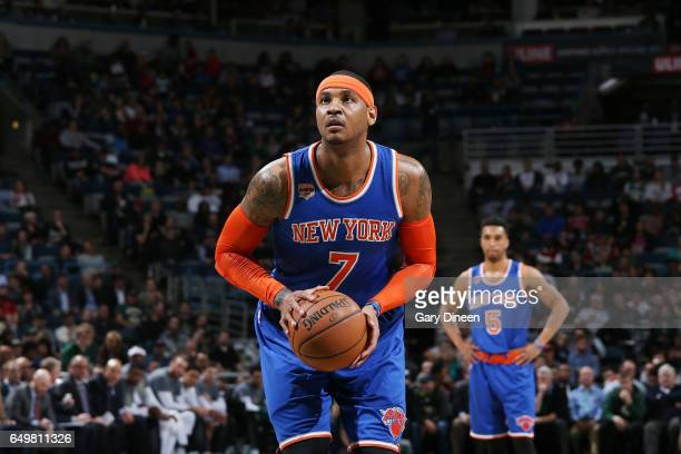 Carmelo Anthony of the New York Knicks shoots a free throw against the Milwaukee Bucks during the game on March 8 2017 at the BMO Harris Bradley...