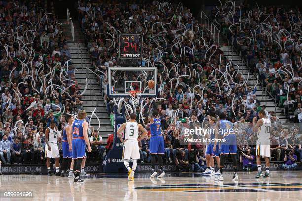Carmelo Anthony of the New York Knicks shoots a free throw against the Utah Jazz on March 22 2017 at vivintSmartHome Arena in Salt Lake City Utah...