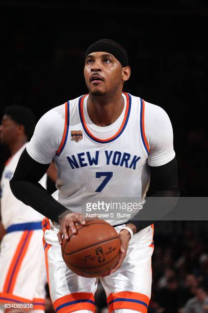 Carmelo Anthony of the New York Knicks shoots a free throw during a game against the Los Angeles Lakers on February 6 2017 at Madison Square Garden...