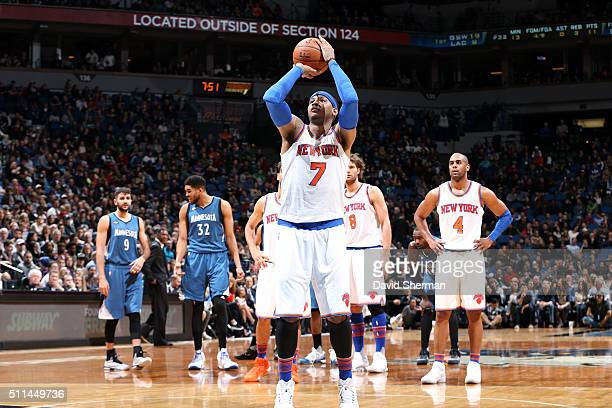 Carmelo Anthony of the New York Knicks shoots a free throw during the game against the Minnesota Timberwolves on February 20 2016 at Target Center in...