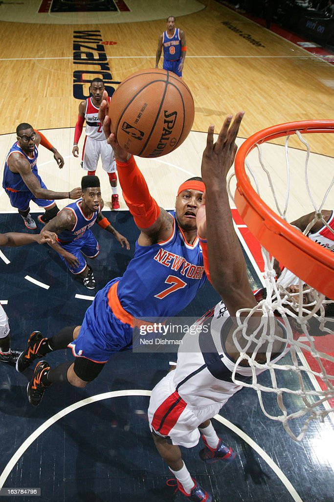 <a gi-track='captionPersonalityLinkClicked' href=/galleries/search?phrase=Carmelo+Anthony&family=editorial&specificpeople=201494 ng-click='$event.stopPropagation()'>Carmelo Anthony</a> #7 of the New York Knicks shoots a layup against the Washington Wizards at the Verizon Center on March 1, 2013 in Washington, DC.
