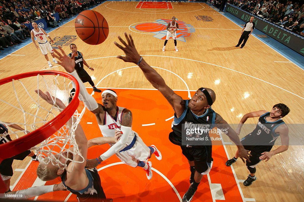 <a gi-track='captionPersonalityLinkClicked' href=/galleries/search?phrase=Carmelo+Anthony&family=editorial&specificpeople=201494 ng-click='$event.stopPropagation()'>Carmelo Anthony</a> #7 of the New York Knicks shoots against <a gi-track='captionPersonalityLinkClicked' href=/galleries/search?phrase=Dante+Cunningham&family=editorial&specificpeople=683729 ng-click='$event.stopPropagation()'>Dante Cunningham</a> #33 of the Minnesota Timberwolves on December 23, 2012 at Madison Square Garden in New York City.