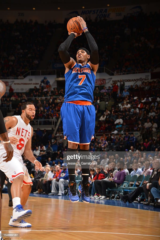 <a gi-track='captionPersonalityLinkClicked' href=/galleries/search?phrase=Carmelo+Anthony&family=editorial&specificpeople=201494 ng-click='$event.stopPropagation()'>Carmelo Anthony</a> #7 of the New York Knicks shoots against <a gi-track='captionPersonalityLinkClicked' href=/galleries/search?phrase=Deron+Williams&family=editorial&specificpeople=203215 ng-click='$event.stopPropagation()'>Deron Williams</a> #8 of the Brooklyn Nets on October 24, 2012 at the Nassau Veterans Memorial Coliseum in Long Island, New York.