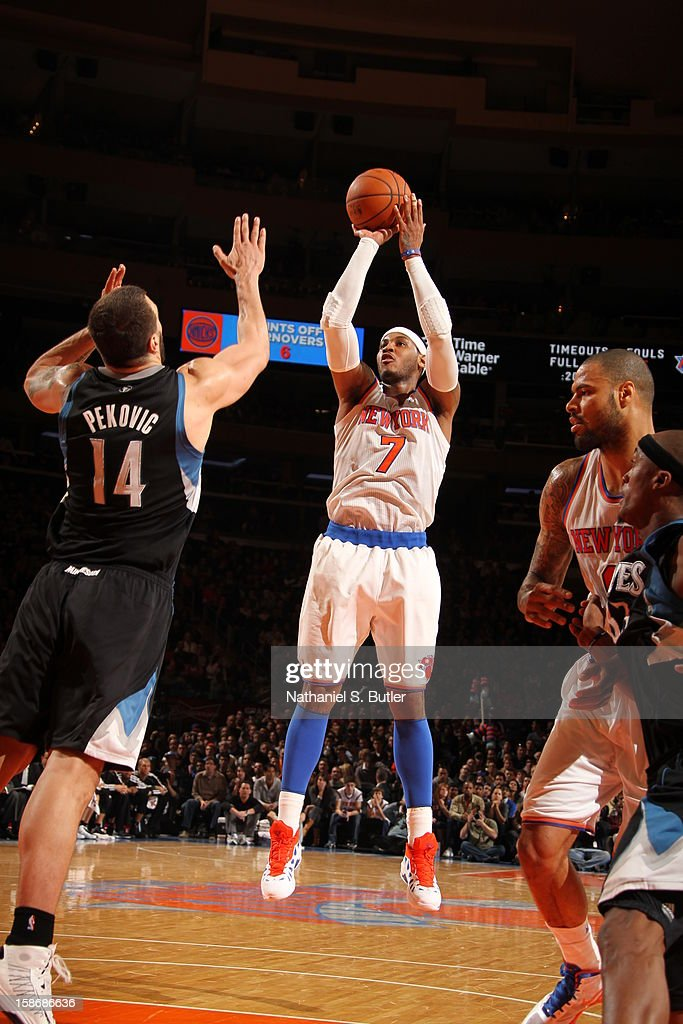 Carmelo Anthony #7 of the New York Knicks shoots against Nikola Pekovic #14 of the Minnesota Timberwolveson December 23, 2012 at Madison Square Garden in New York City.
