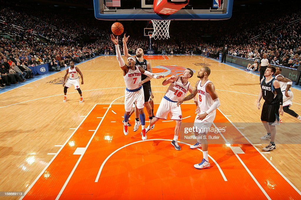 <a gi-track='captionPersonalityLinkClicked' href=/galleries/search?phrase=Carmelo+Anthony&family=editorial&specificpeople=201494 ng-click='$event.stopPropagation()'>Carmelo Anthony</a> #7 of the New York Knicks shoots against <a gi-track='captionPersonalityLinkClicked' href=/galleries/search?phrase=Nikola+Pekovic&family=editorial&specificpeople=829137 ng-click='$event.stopPropagation()'>Nikola Pekovic</a> #14 of the Minnesota Timberwolves on December 23, 2012 at Madison Square Garden in New York City.
