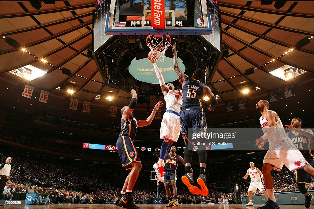 Carmelo Anthony #7 of the New York Knicks shoots against Roy Hibbert #55 of the Indiana Pacers on November 18, 2012 at Madison Square Garden in the Manhattan Borough of New York City.