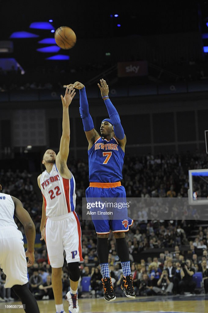 <a gi-track='captionPersonalityLinkClicked' href=/galleries/search?phrase=Carmelo+Anthony&family=editorial&specificpeople=201494 ng-click='$event.stopPropagation()'>Carmelo Anthony</a> #7 of the New York Knicks shoots against <a gi-track='captionPersonalityLinkClicked' href=/galleries/search?phrase=Tayshaun+Prince&family=editorial&specificpeople=201553 ng-click='$event.stopPropagation()'>Tayshaun Prince</a> #22 of the Detroit Pistons during a game at the 02 Arena on January 17, 2013 in London, England.