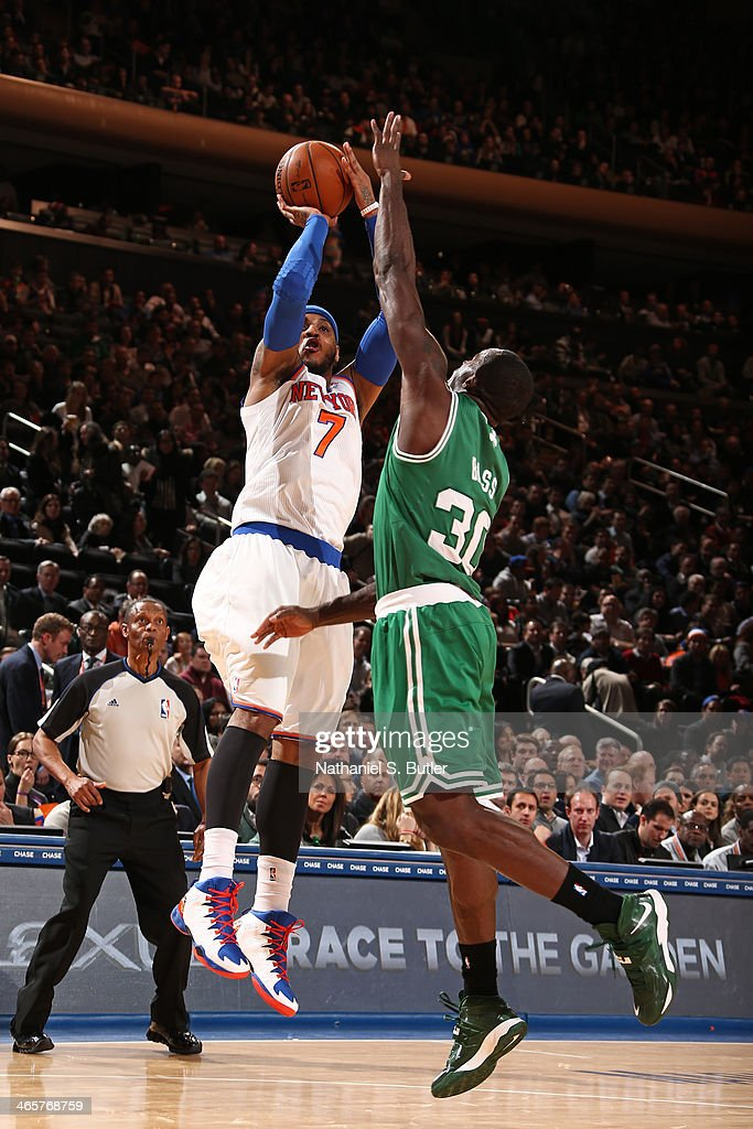 <a gi-track='captionPersonalityLinkClicked' href=/galleries/search?phrase=Carmelo+Anthony&family=editorial&specificpeople=201494 ng-click='$event.stopPropagation()'>Carmelo Anthony</a> #7 of the New York Knicks shoots against the Boston Celtics at Madison Square Garden in New York City on January 28, 2014.