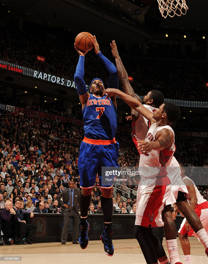 <a gi-track='captionPersonalityLinkClicked' href=/galleries/search?phrase=Carmelo+Anthony&family=editorial&specificpeople=201494 ng-click='$event.stopPropagation()'>Carmelo Anthony</a> #7 of the New York Knicks shoots against the Toronto Raptors on February 22, 2013 at the Air Canada Centre in Toronto, Ontario, Canada.