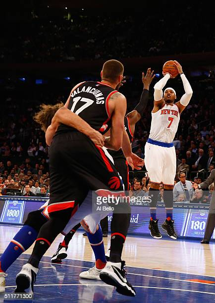 Carmelo Anthony of the New York Knicks shoots against the Toronto Raptors during their game at Madison Square Garden on February 22 2016 in New York...