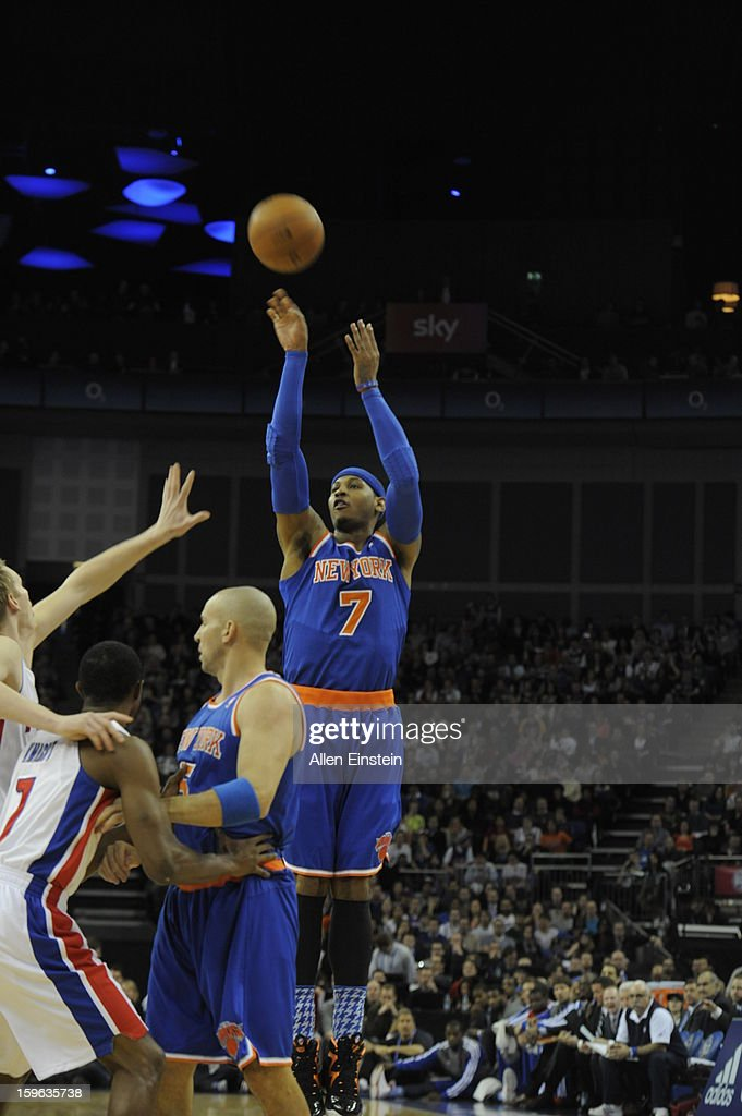 Carmelo Anthony #7 of the New York Knicks shoots over a screen set by teammate Jason Kidd #5 of the New York Knicks during a game at the 02 Arena on January 17, 2013 in London, England.