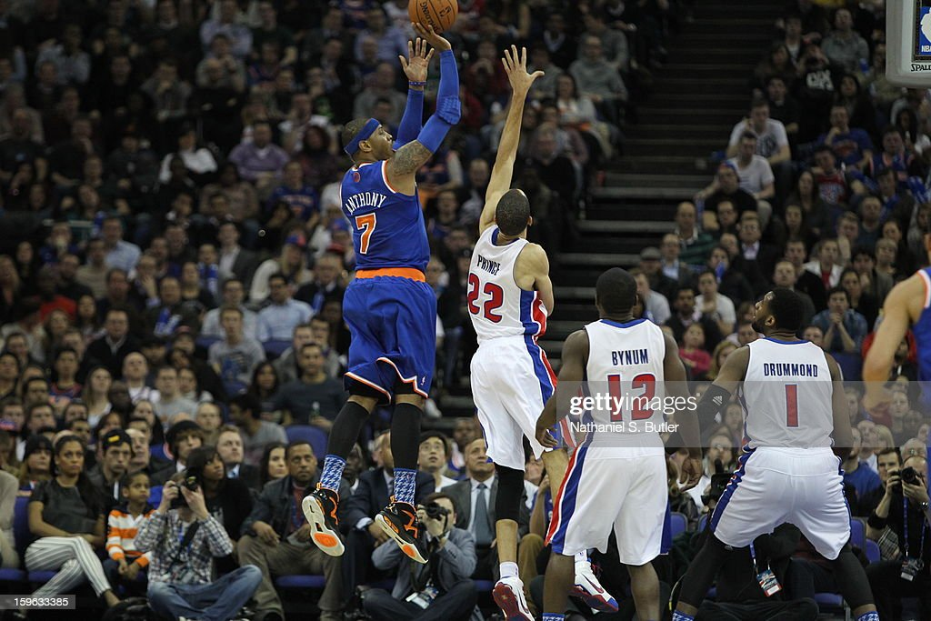 Carmelo Anthony #7 of the New York Knicks shoots over Tayshaun Prince #22 of the Detroit Pistons during a game between the New York Knicks and the Detroit Pistons at the 02 Arena on January 17, 2013 in London, England.