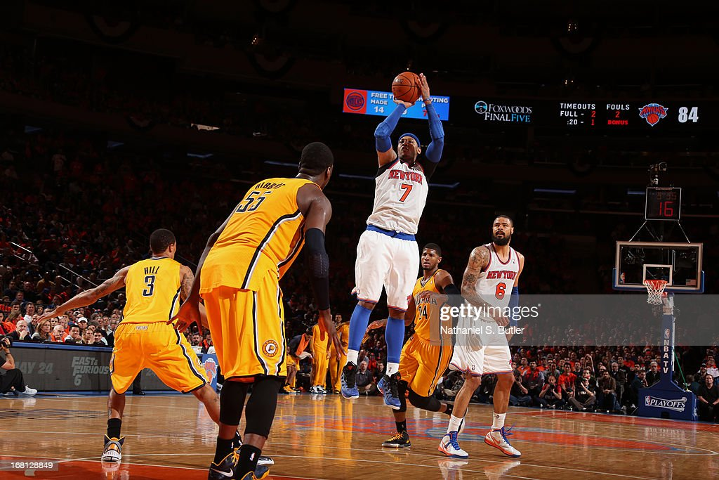 <a gi-track='captionPersonalityLinkClicked' href=/galleries/search?phrase=Carmelo+Anthony&family=editorial&specificpeople=201494 ng-click='$event.stopPropagation()'>Carmelo Anthony</a> #7 of the New York Knicks shoots the ball against the Indiana Pacers in Game One of the Eastern Conference Semifinals during the 2013 NBA Playoffs on May 5, 2013 at Madison Square Garden in New York City.