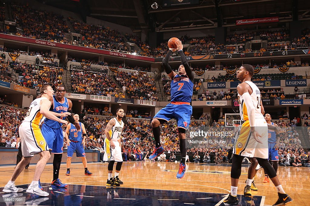 <a gi-track='captionPersonalityLinkClicked' href=/galleries/search?phrase=Carmelo+Anthony&family=editorial&specificpeople=201494 ng-click='$event.stopPropagation()'>Carmelo Anthony</a> #7 of the New York Knicks shoots the ball against the Indiana Pacers in Game Four of the Eastern Conference Semifinals during the 2013 NBA Playoffs on May 14, 2013 at Bankers Life Fieldhouse in Indianapolis.