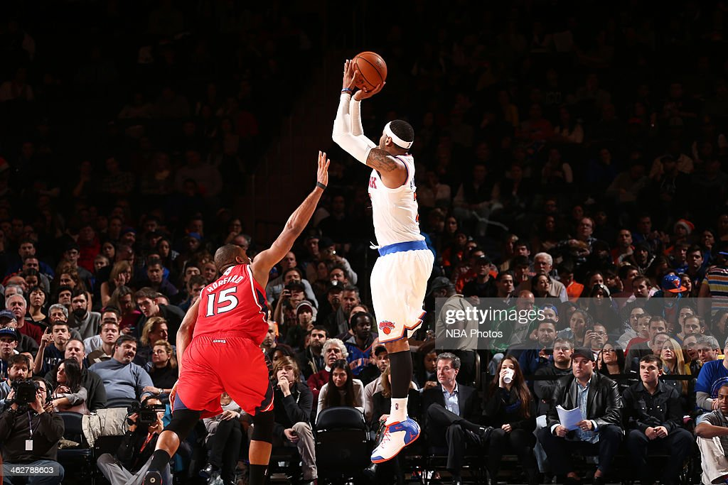 Carmelo Anthony #7 of the New York Knicks shoots the ball against the Atlanta Hawks during a game at Madison Square Garden in New York City.