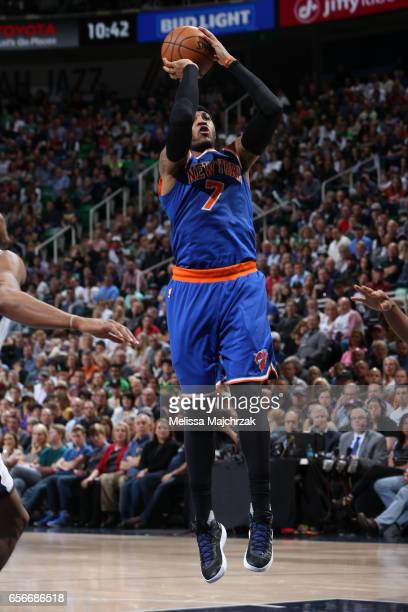 Carmelo Anthony of the New York Knicks shoots the ball against the Utah Jazz on March 22 2017 at vivintSmartHome Arena in Salt Lake City Utah NOTE TO...