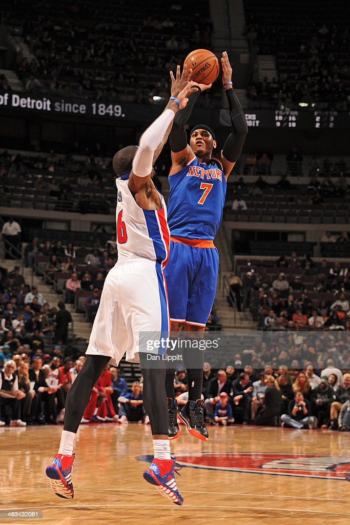 <a gi-track='captionPersonalityLinkClicked' href=/galleries/search?phrase=Carmelo+Anthony&family=editorial&specificpeople=201494 ng-click='$event.stopPropagation()'>Carmelo Anthony</a> #7 of the New York Knicks shoots the ball during the game against the Detroit Pistons on November 19, 2013 at The Palace of Auburn Hills in Auburn Hills, Michigan.
