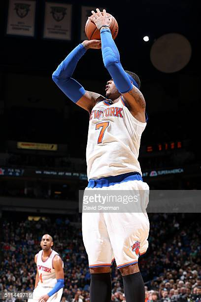 Carmelo Anthony of the New York Knicks shoots the ball during the game against the Minnesota Timberwolves on February 20 2016 at Target Center in...