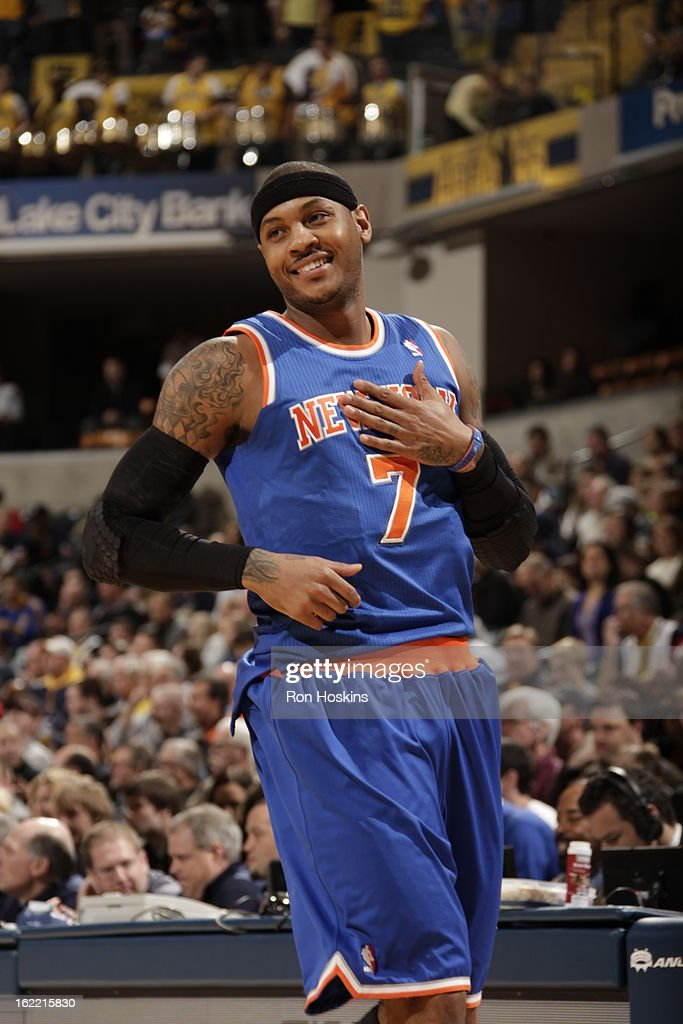 Carmelo Anthony #7 of the New York Knicks smiles before the game between the Indiana Pacers and the New York Knicks on February 20, 2013 at Bankers Life Fieldhouse in Indianapolis, Indiana.