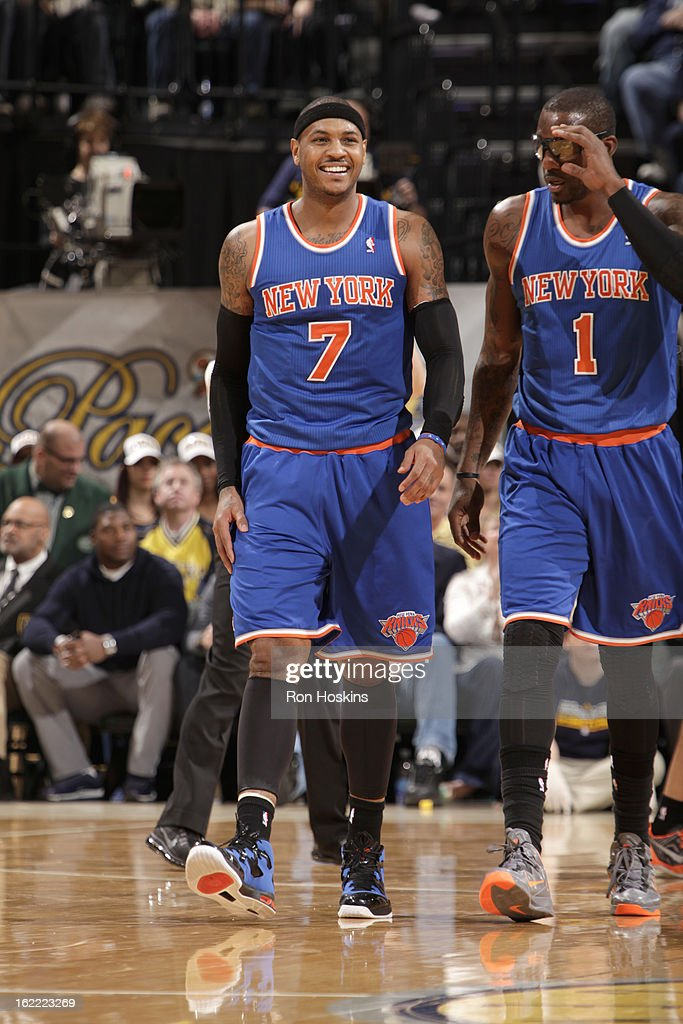 <a gi-track='captionPersonalityLinkClicked' href=/galleries/search?phrase=Carmelo+Anthony&family=editorial&specificpeople=201494 ng-click='$event.stopPropagation()'>Carmelo Anthony</a> #7 of the New York Knicks smiles during the game between the Indiana Pacers and the New York Knicks on February 20, 2013 at Bankers Life Fieldhouse in Indianapolis, Indiana.